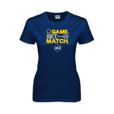 Ladies Navy T Shirt-Game Set Match - Tennis Design