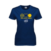 Ladies Navy T Shirt-Peace, Love and Volleyball Design