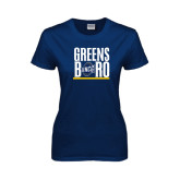 Ladies Navy T Shirt-Greensboro Stacked with Shield