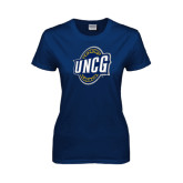 Ladies Navy T Shirt-UNCG Shield Distressed