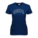 Ladies Navy T Shirt-UNCG Rhinestones