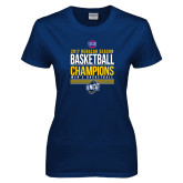 Ladies Navy T Shirt-2017 SoCon Regular Season Basketball Champions - Stacked