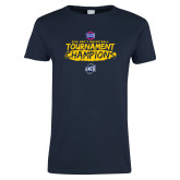 Ladies Navy T Shirt-2018 Mens Basketball Champions - Brush