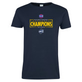 Ladies Navy T Shirt-2018 Mens Basketball Champions - Box