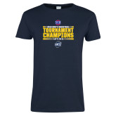 Ladies Navy T Shirt-2018 Mens Basketball Champions - Stacked