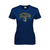 Ladies Navy T Shirt-Arched UNCG w/Spartan