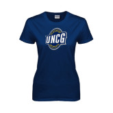 Ladies Navy T Shirt-UNCG Shield