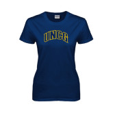 Ladies Navy T Shirt-Arched UNCG