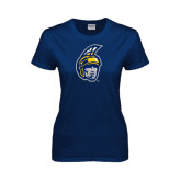 Ladies Navy T Shirt-Spartan Head