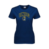 Ladies Navy T Shirt-Arched UNCG w/Spartan Distressed