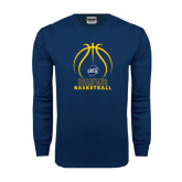 Navy Long Sleeve T Shirt-Stacked Basketball