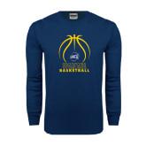 Navy Long Sleeve T Shirt-Stacked Basketball