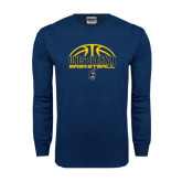 Navy Long Sleeve T Shirt-Arched Basketball Design
