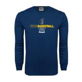 Navy Long Sleeve T Shirt-Basketball Net Design