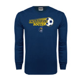 Navy Long Sleeve T Shirt-Soccer Ball Design