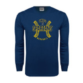 Navy Long Sleeve T Shirt-Basball Ball Design