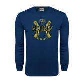 Navy Long Sleeve T Shirt-Basball Ball Design