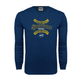 Navy Long Sleeve T Shirt-Softball Ball Design