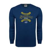 Navy Long Sleeve T Shirt-Softball Ball Design