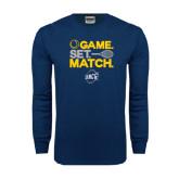 Navy Long Sleeve T Shirt-Game Set Match - Tennis Design