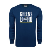 Navy Long Sleeve T Shirt-Greensboro Stacked with Shield