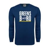 Navy Long Sleeve T Shirt-Greensboro Stacked with Shield