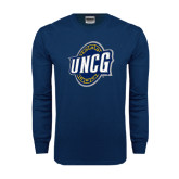 Navy Long Sleeve T Shirt-UNCG Shield Distressed