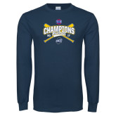 Navy Long Sleeve T Shirt-Baseball SoCon Champions 2017 - Crossed Sticks