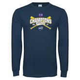 Navy Long Sleeve T Shirt-Baseball SoCon Champions 2017 - Crossed Sticks