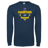 Navy Long Sleeve T Shirt-Baseball SoCon Champions 2017 - Diamond