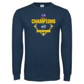 Navy Long Sleeve T Shirt-Baseball SoCon Champions 2017 - Diamond