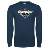 Navy Long Sleeve T Shirt-Baseball SoCon Champions 2017 - Banner w/ Plate