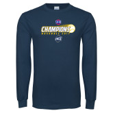 Navy Long Sleeve T Shirt-Baseball SoCon Champions 2017 - Ball in Motion
