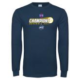 Navy Long Sleeve T Shirt-Baseball SoCon Champions 2017 - Ball in Motion
