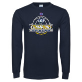 Navy Long Sleeve T Shirt-2017 SoCon Regular Season Basketball Champions - Banner