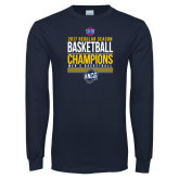 Navy Long Sleeve T Shirt-2017 SoCon Regular Season Basketball Champions - Stacked