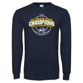 Navy Long Sleeve T Shirt-2017 SoCon Regular Season Basketball Champions - Arched