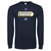 Navy Long Sleeve T Shirt-2017 SoCon Regular Season Softball Champions - Ball