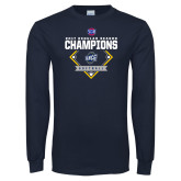Navy Long Sleeve T Shirt-2017 SoCon Regular Season Softball Champions - Diamond