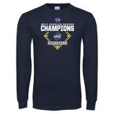 Navy Long Sleeve T Shirt-2017 SoCon Regular Season Softball Champions - Diamond