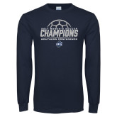 Navy Long Sleeve T Shirt-2017 Womens Soccer Champions