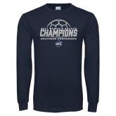 Navy Long Sleeve T Shirt-2017 Womens Soccer Champions