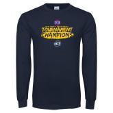 Navy Long Sleeve T Shirt-2018 Mens Basketball Champions - Brush