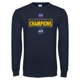 Navy Long Sleeve T Shirt-2018 Mens Basketball Champions - Box