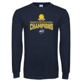 Navy Long Sleeve T Shirt-2018 Mens Basketball Champions - Net w/ Basketball