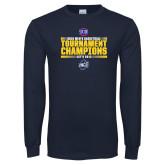 Navy Long Sleeve T Shirt-2018 Mens Basketball Champions - Stacked