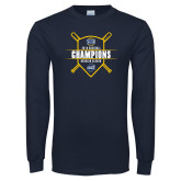 Navy Long Sleeve T Shirt-2018 Baseball Regular Season Champions