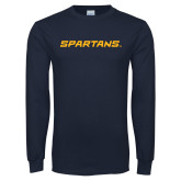 Navy Long Sleeve T Shirt-Spartans Wordmark