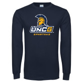 Navy Long Sleeve T Shirt-UNCG Spartans Stacked