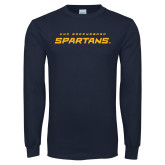 Navy Long Sleeve T Shirt-UNC Greenboro Spartans